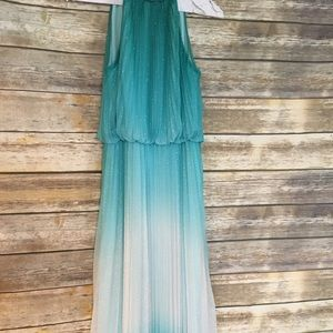 Dresses & Skirts - Grecian Teal and White Ombré Prom Dress, Size 8